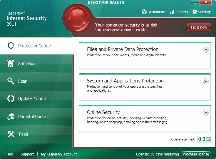 Screenshots of Kaspersky Internet Security 2011