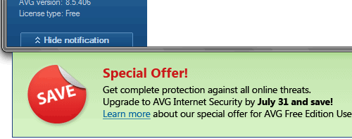 Remove Ads of Notification Bar in AVG Free Antivirus 8.5  and 9.0