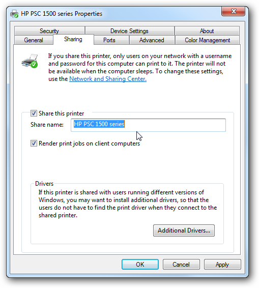 How to share printer between XP and Windows 7 computers