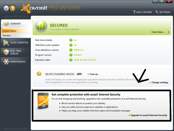 Blocking the Annoying advertisements in Avast! Free Antivirus