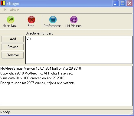 "Free download ""mcafee avert stinger"" virus scanner for windows"