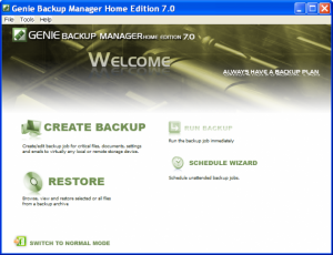 Genie Backup Manager Home edition free 1