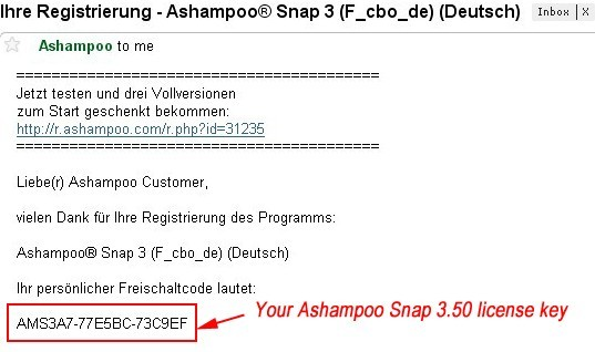 Ashampoo Snap 3.50 license key