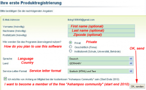 Ashampoo registration form