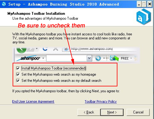 Ashampoo toolbar
