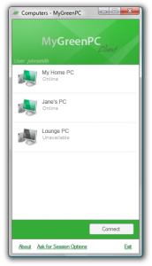 MyGreenPC client screenshot