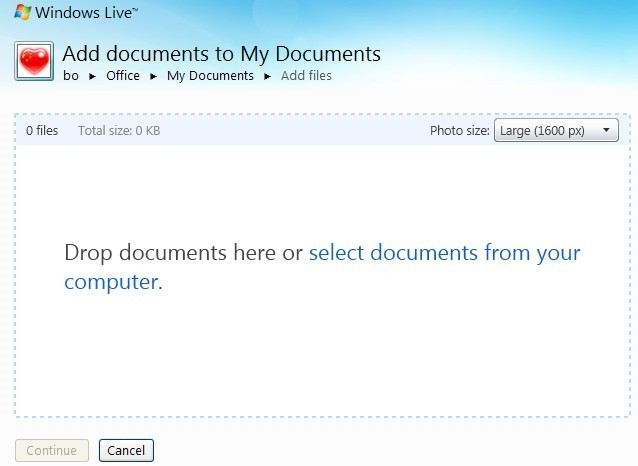 Upload your files to SkyDrive
