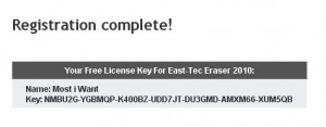 East-Tec Eraser 2010 license serial key