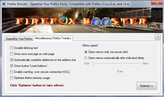 Download Firefox Booster to Tweak and Optimize Firefox