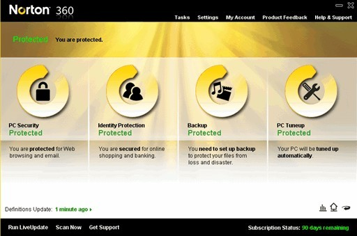 Norton 360 v4 Free with 90 Days OEM license serial key