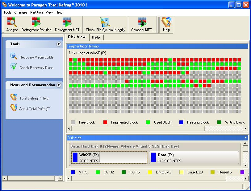 Paragon Total Defrag 2010 Special Edition main window