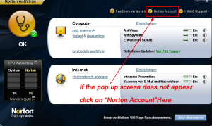 click on Norton Account