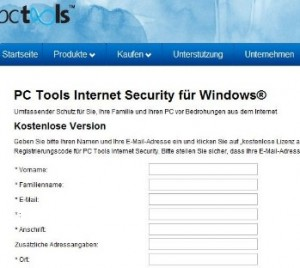 Free PC Tools Internet Security 2010 serial key for 1 PC 1 Year