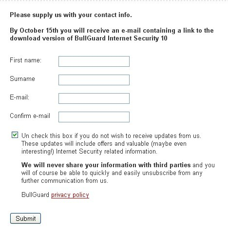 BullGuard Internet Security 10 license key for free