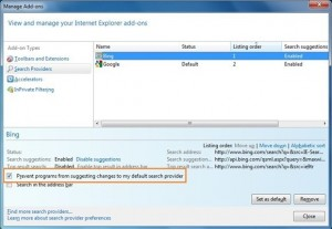 Default Search Engine In IE9
