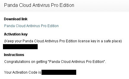 Panda Cloud Antivirus Pro 1 Year Activation Key Code For Free