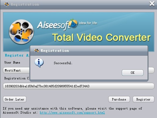 Aiseesoft Total Video Converter Registration Key Code