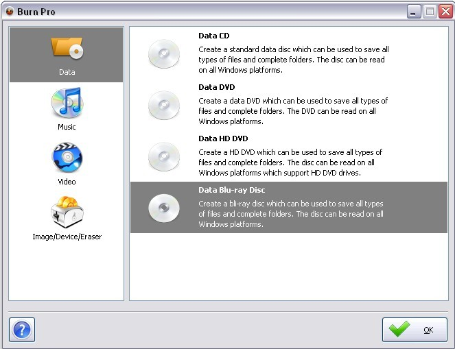 BurnPro is a free application to burn CDs and DVDs