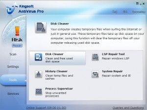 Kingsoft Antivirus free also provides you with several convenient tools