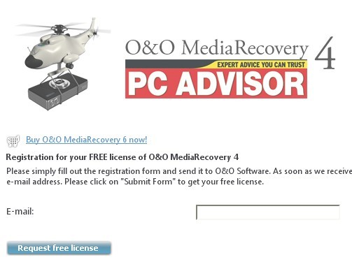 O&O MediaRecovery 4 PC ADVISOR registration page