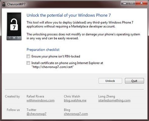 Unlock & Jailbreak Windows Mobile Phone 7 With ChevronWP7