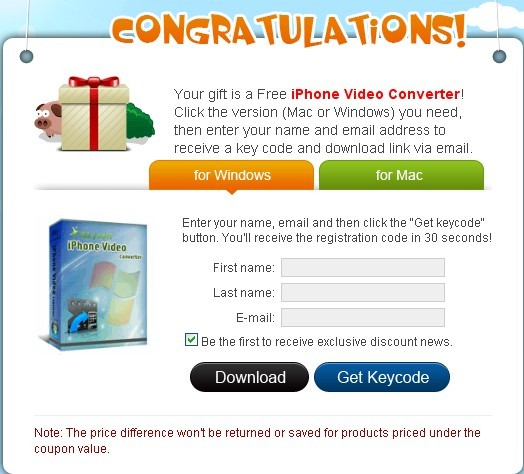 iSkysoft iPhone Video Converter Free Serial Registration Code For Windows and Mac