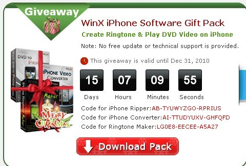 Free Serial License Code For WinX DVD to iPhone Ripper, iPhone Video Converter, and iPhone Ringtone Maker