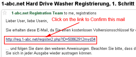 Confirm  Hard Drive Washer registration