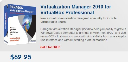 Paragon Virtualization Manager 2010 For VirtualBox