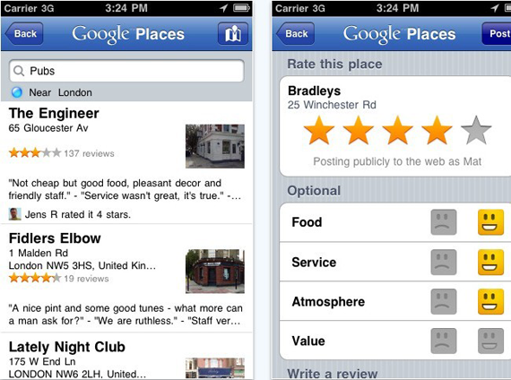 Google Places App for iphone With Hotpot