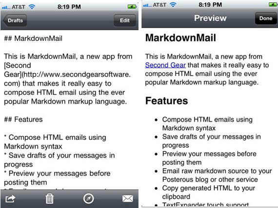 compose HTML Emails and Blog Posts on iPhone