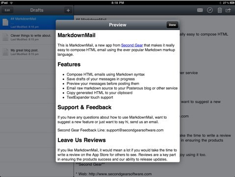 Compose HTML Emails on iPad
