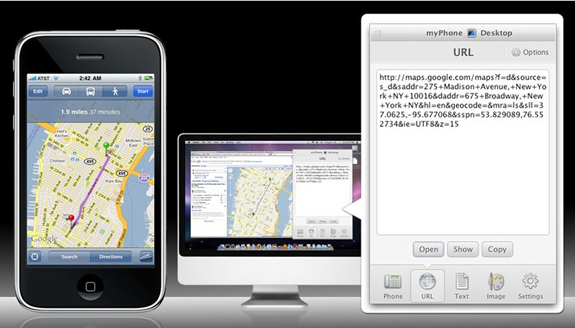 Send complicated url with Map's location or route to your iPad or iPhone