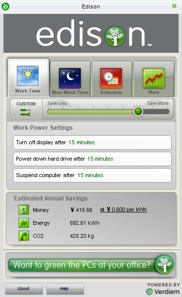 Verdiem's Edison: Free energy monitoring software For Home Pc