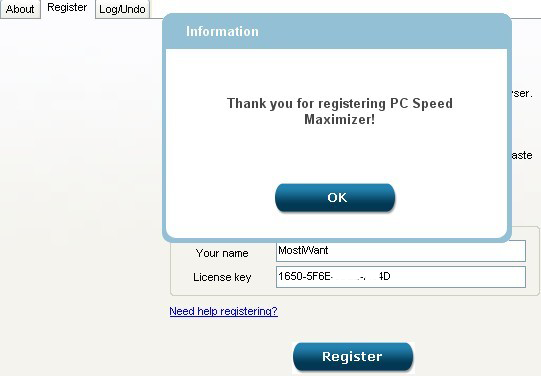 activate PC Speed Maximizer full version