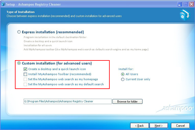 Ashampoo Registry cleaner tries to install Ashampoo toolbar