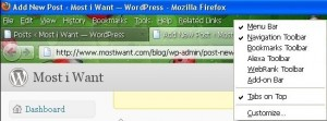 """Deselect """"Tabs on Top"""" option for the tabs to appear below and bottom of address bar in firefox 4"""