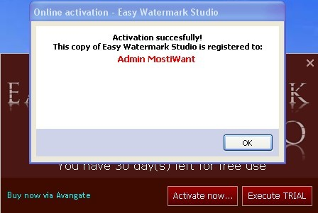 Enter the License Key to Active Easy Watermark Studio Pro