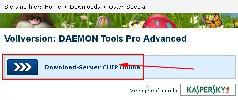 "Click ""Download CHIP server online"" button to download DAEMON Tools Pro Advanced 4.41."