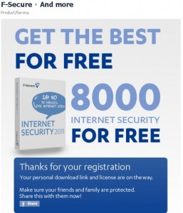 F-Secure Internet Security 2011 6 Months Subscription Key Giveaway