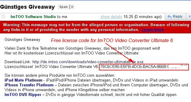 License Code Information of ImTOO Video Converter Ultimate 6