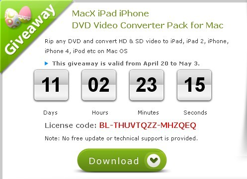 MacX iPad iPhone DVD Video Converter Pack for Mac License Code For Free