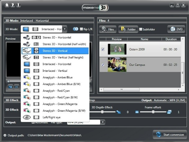 MakeMe3d: Free 2D to 3D Video Conversion Software