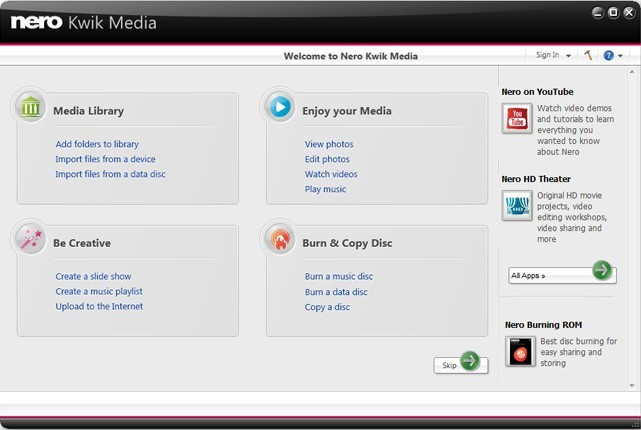 Download Nero Kwik Media: Free Media Management Software