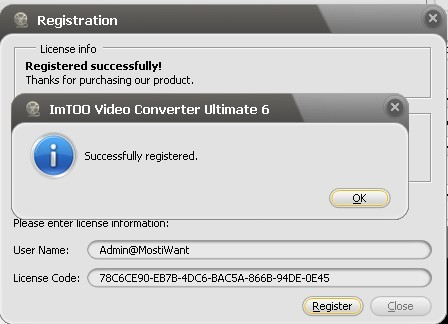 Enter License Code to unlock ImTOO Video Converter Ultimate 6