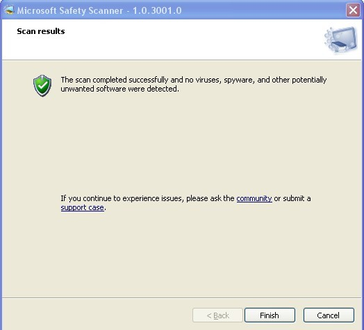 Microsoft Safety Scanner Scan results
