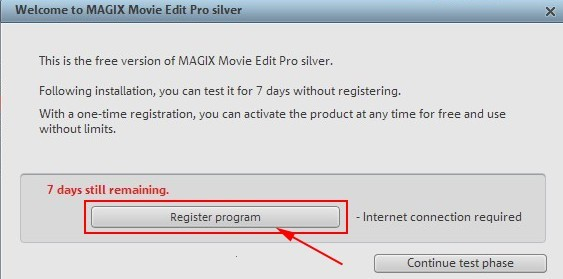Welcome to Magix Movie Edit Pro silver splash dialog