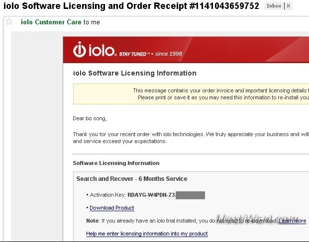 iolo Search and Recover licensing details