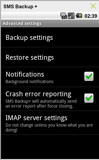 SMS Backup + Advanced Settings