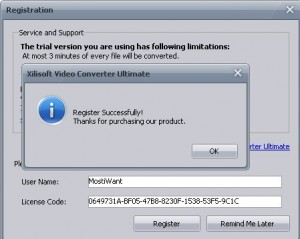 Apply the license code you received to activate full version xilisoft video converter ultimate